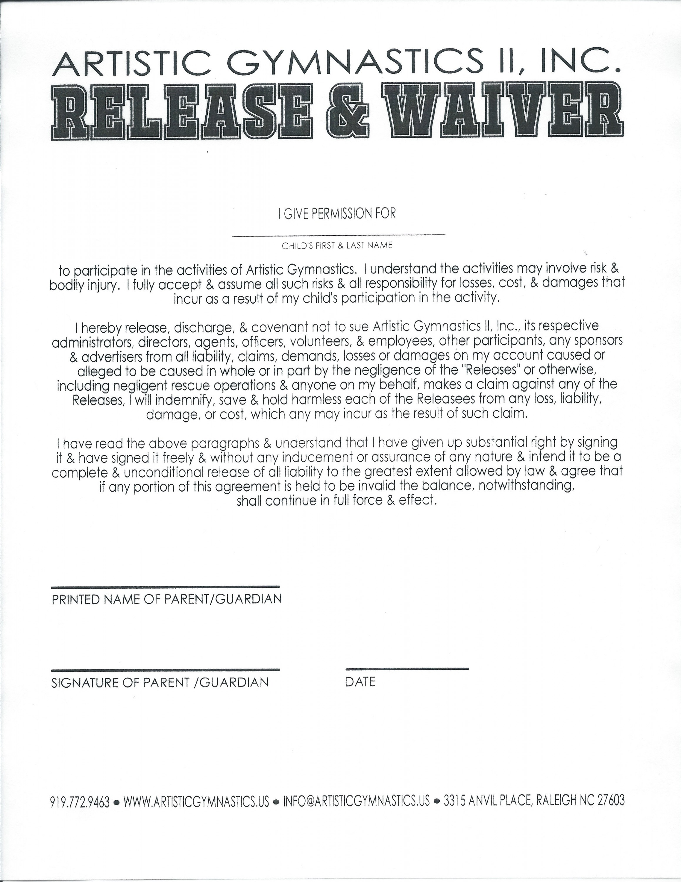 Release and Waiver